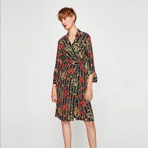 ZARA STRIPED AND FLORAL PRINT SHIRT DRESS